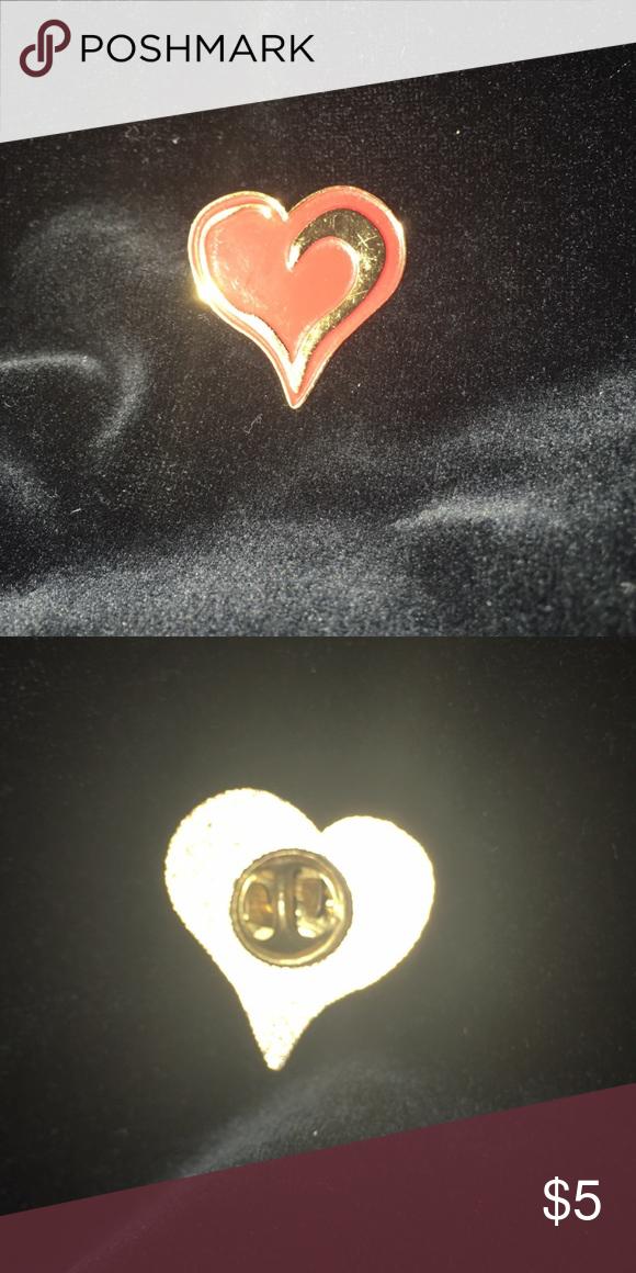 28ea9178659 Small enamel gold heart pendant lapel pin Small enamel gold heart shaped lapel  pin Jewelry Brooches