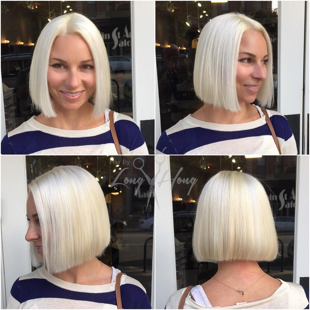 Long The Hong On Instagram Bold Blunt Blonde Bob Platinum Blonde Bob Hairstyles Hair Styles White Hair Color