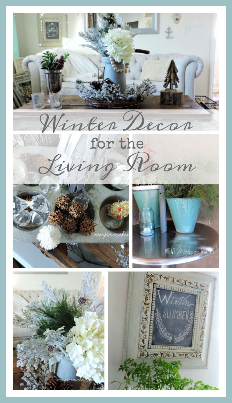 Winter Decor For The Living Room can be simple with a few Christmas pieces and your own home decor. It is simple & fun. Use your imagination & creativity.