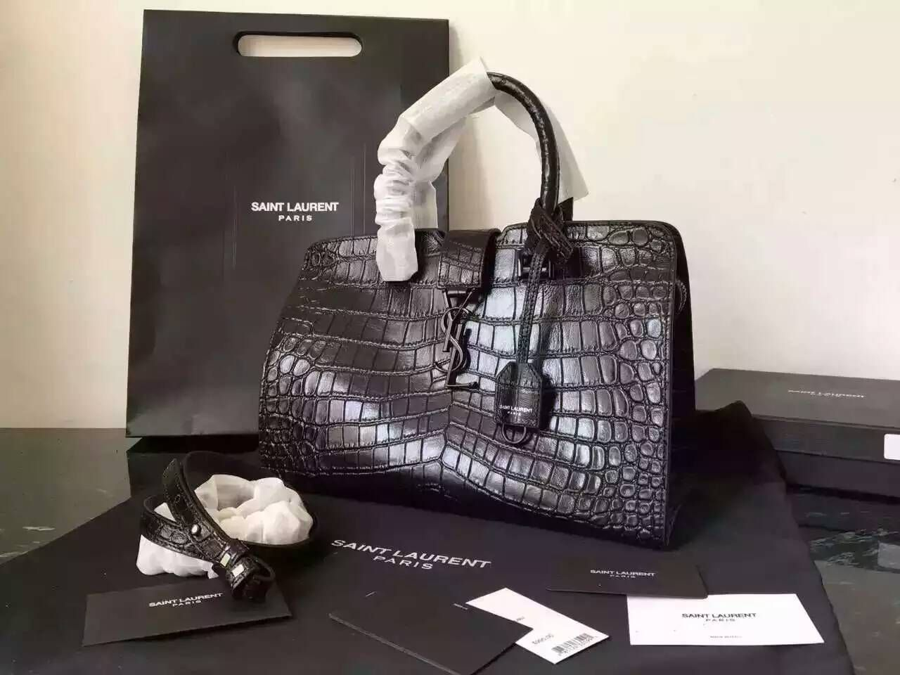 bf31f41339b7 S S 2016 New Saint Laurent Bag Cheap Sale-Saint Laurent Small Monogram  Cabas Bag in Black Crocodile Embossed Leather