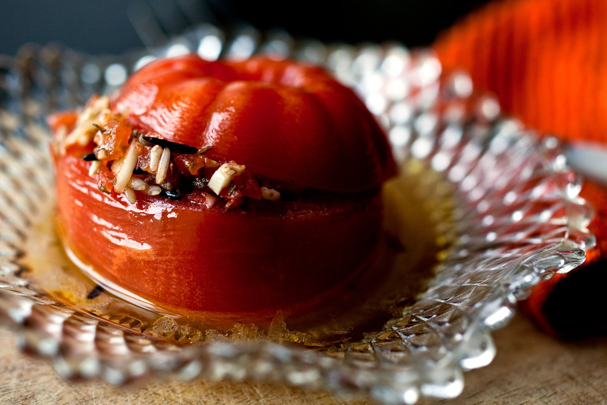 Greek Stuffed Tomatoes. Ubiquitous in Greece and filled with rice and herbs, usually mint and dill, with a little shredded zucchini mixed in with the rice.