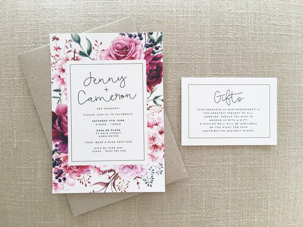 Rose Watercolour Watercolor Wedding Engagement Invitations Melbourne Victoria Australia Graphic Designers Invitation