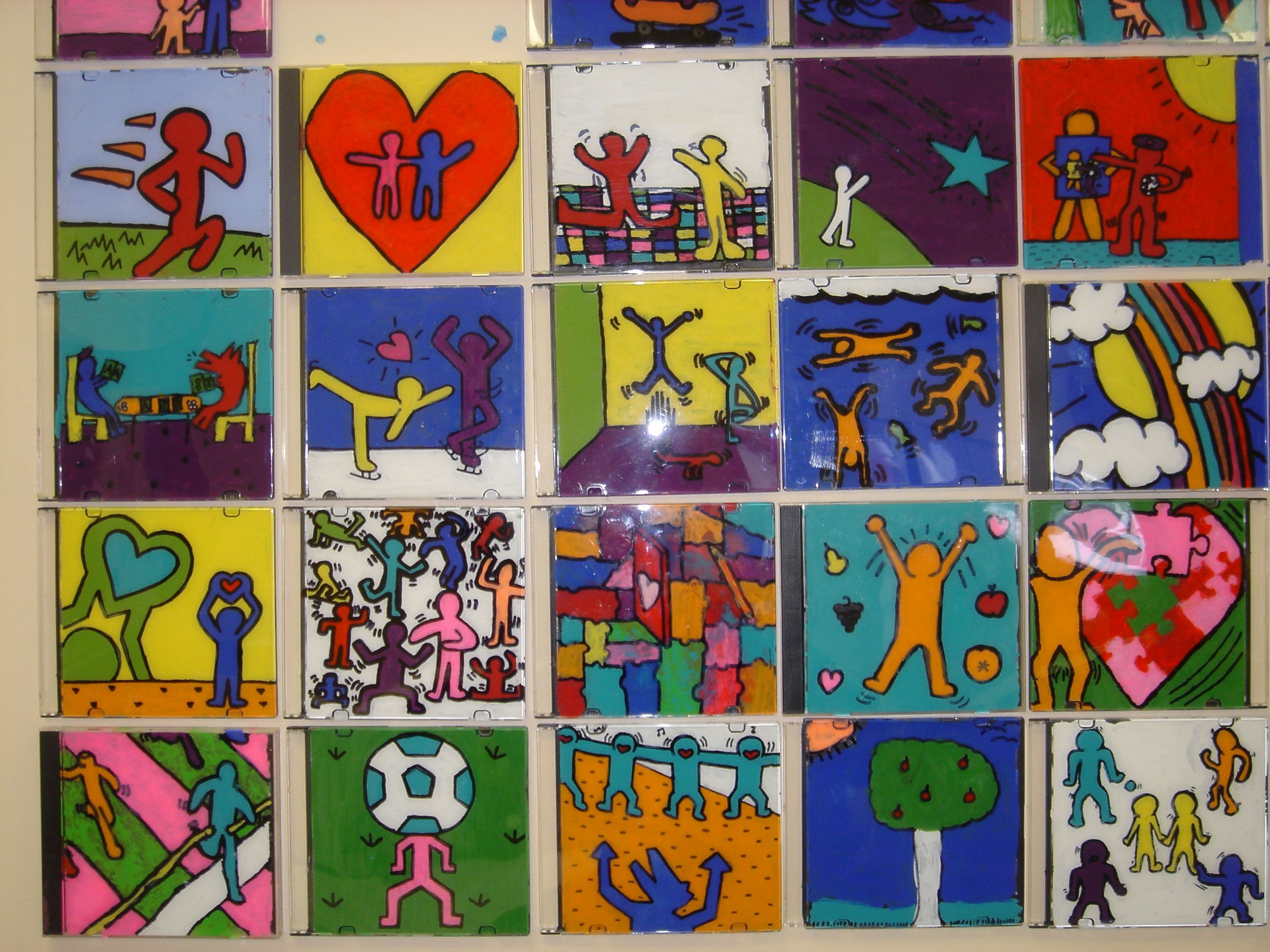 Haring inspired art on cd cases ceiling tile project pinterest haring inspired art on cd cases dailygadgetfo Choice Image