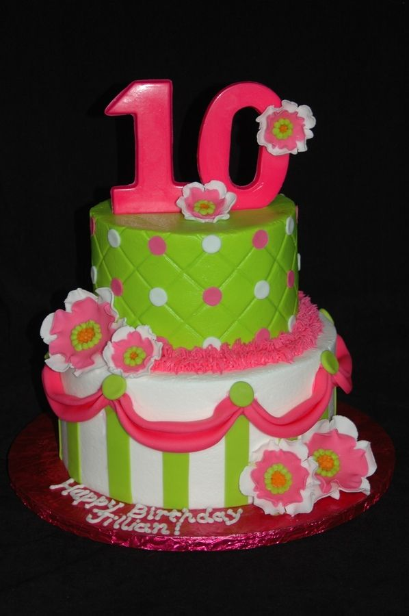 Girly 10th Birthday Cakes