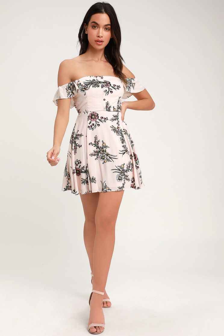 482e0343f7cc One Sweet Day Light Pink Floral Print Off-the-Shoulder Dress