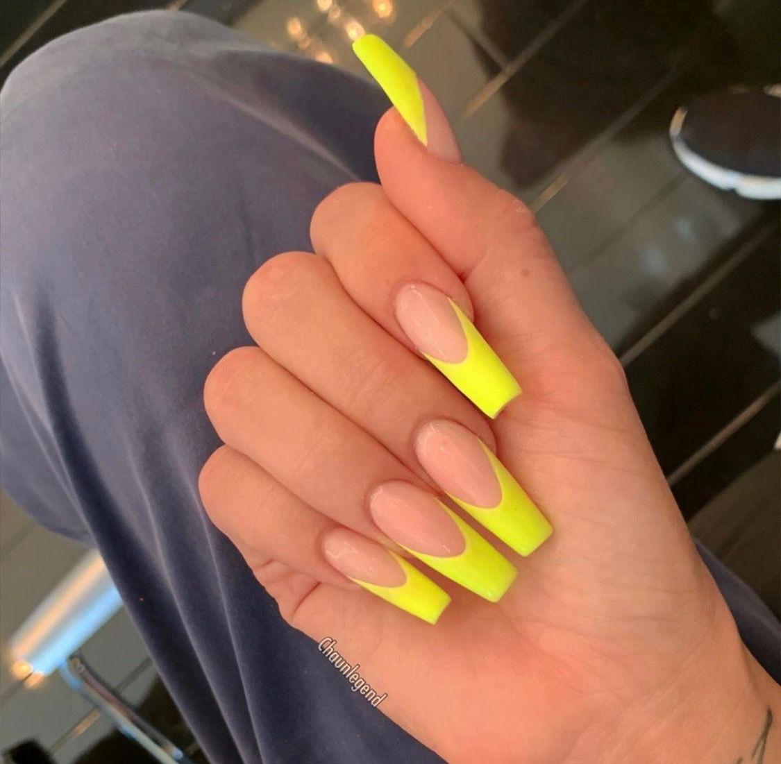 52 Gorgeous Coffin French Tip Nail Designs Fake Nails French Tip Nail Designs Yellow Nails