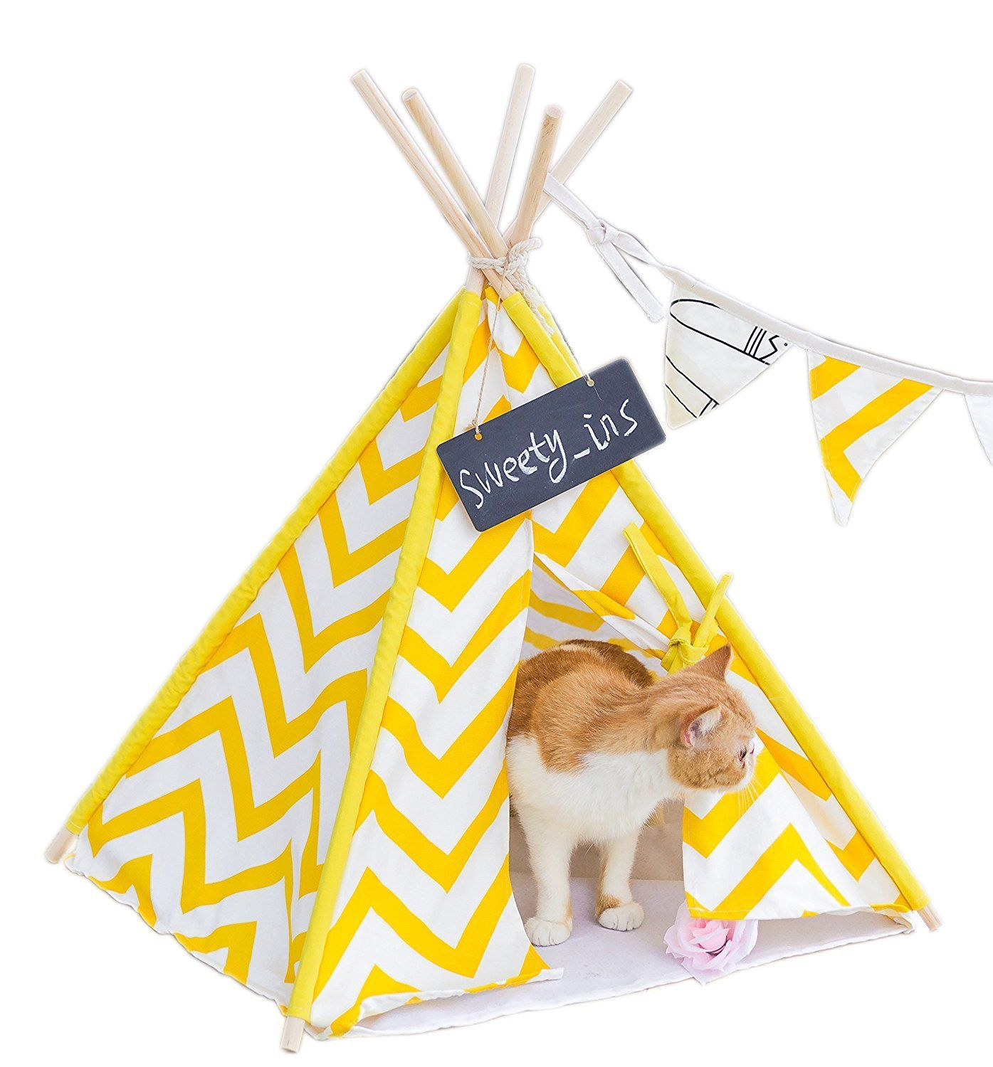 Sweety-ins Pet Teepee Dog and Cat Bed - Portable Dog Tents and Pet Houses for Small Dogs Yellow Stripe 24 Inch With No Cushion ** Details can be found by ...  sc 1 st  Pinterest & Sweety-ins Pet Teepee Dog and Cat Bed - Portable Dog Tents and Pet ...