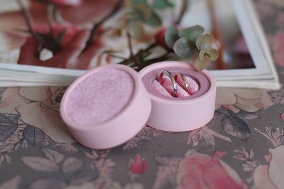 Pink Ring Box Round Velvet Ring Box Ring Box Jewelry Box Velvet Ring Box Pink Ring Box Round velvet ring box Ring Box Jewelry Box Velvet ring box Pink Things pink color a...