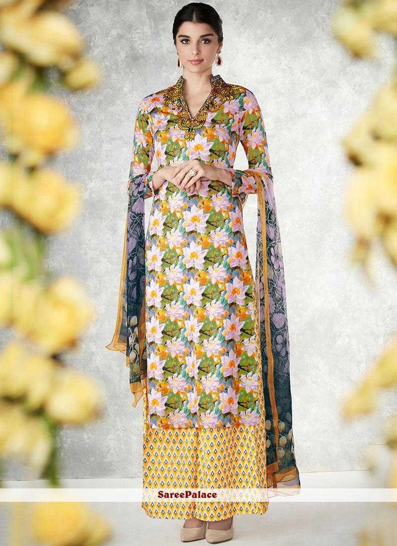 e4f2ef58833 Elegant Multi Colour Print Work Cotton Palazzo Designer Salwar Suit ...