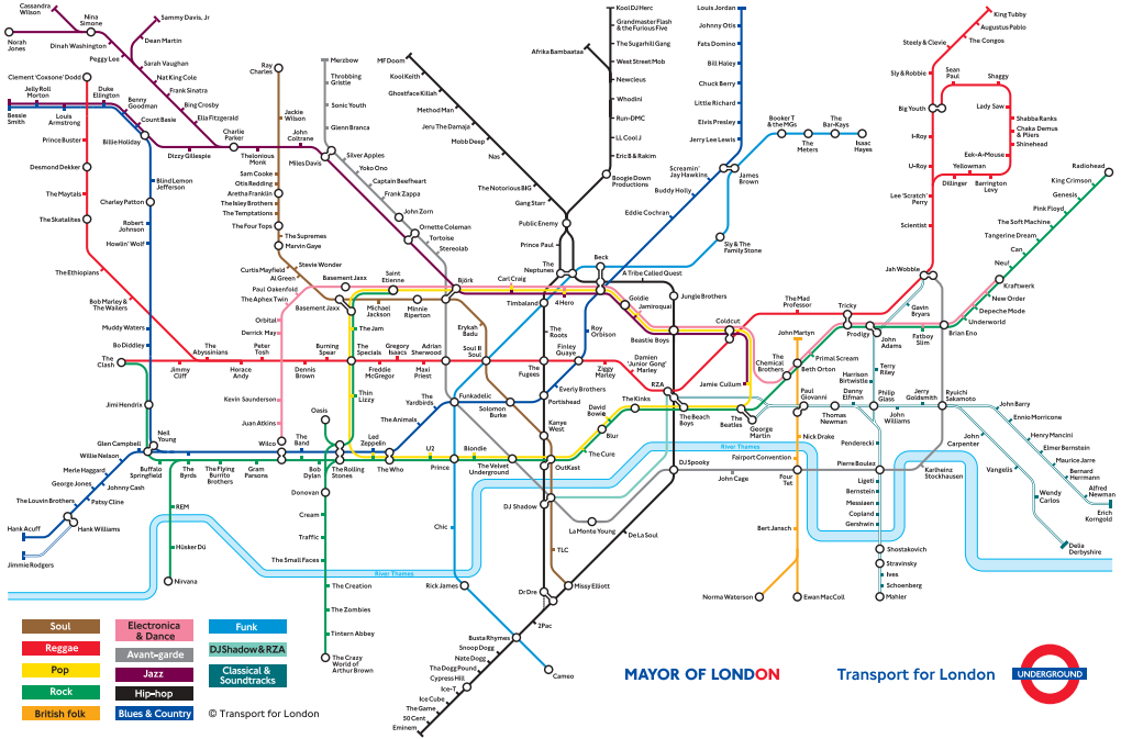 Subway Map Of London.London Music Genres Subway Maps In 2019 London Tube Map