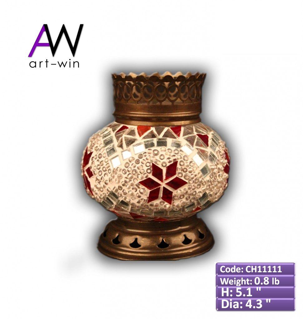 Handmade White-Red Mosaic Candle Holder - CH11111 ArtWinLighting.com