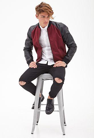 Faux Leather-Sleeve Bomber Jacket | 21 MEN - 2000085195 | My Style ...