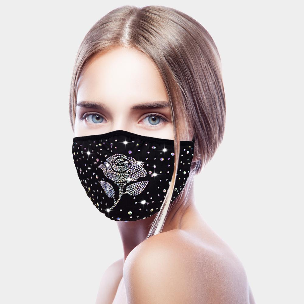Stone Embellished Rose Flower Fashion Mask Flower Fashion Fashion Mask Embellished