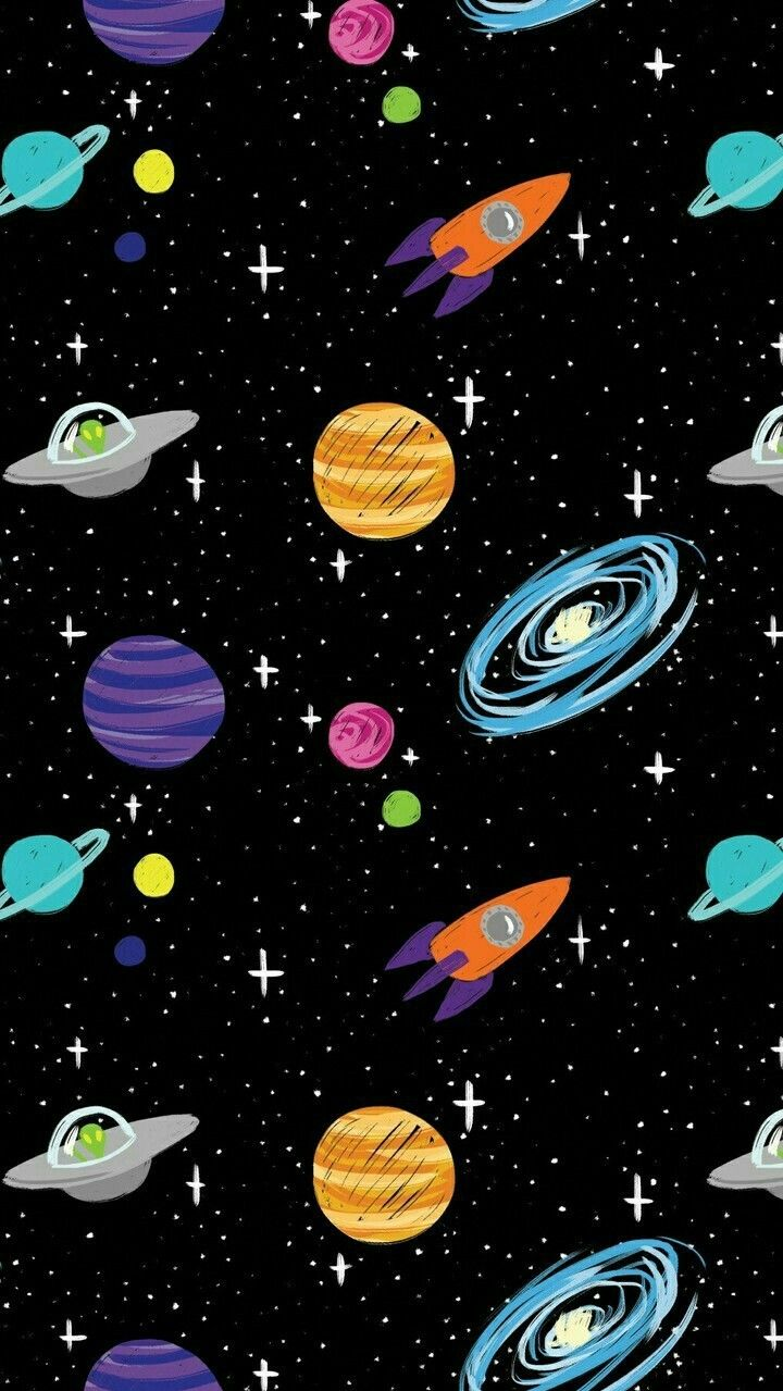 Space Cartoon Aliens Rocket Ships Planets Galaxy Iphone Wallpaper Lukisan Galaksi Kertas Dinding Abstrak