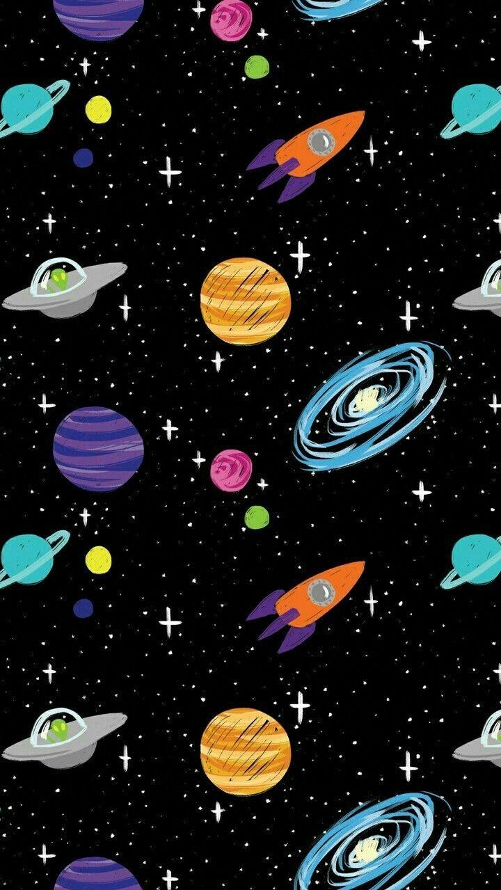 Space Cartoon Aliens Rocket Ships Planets Galaxy Iphone Wallpaper Lukisan Galaksi Kertas Dinding Abstrak