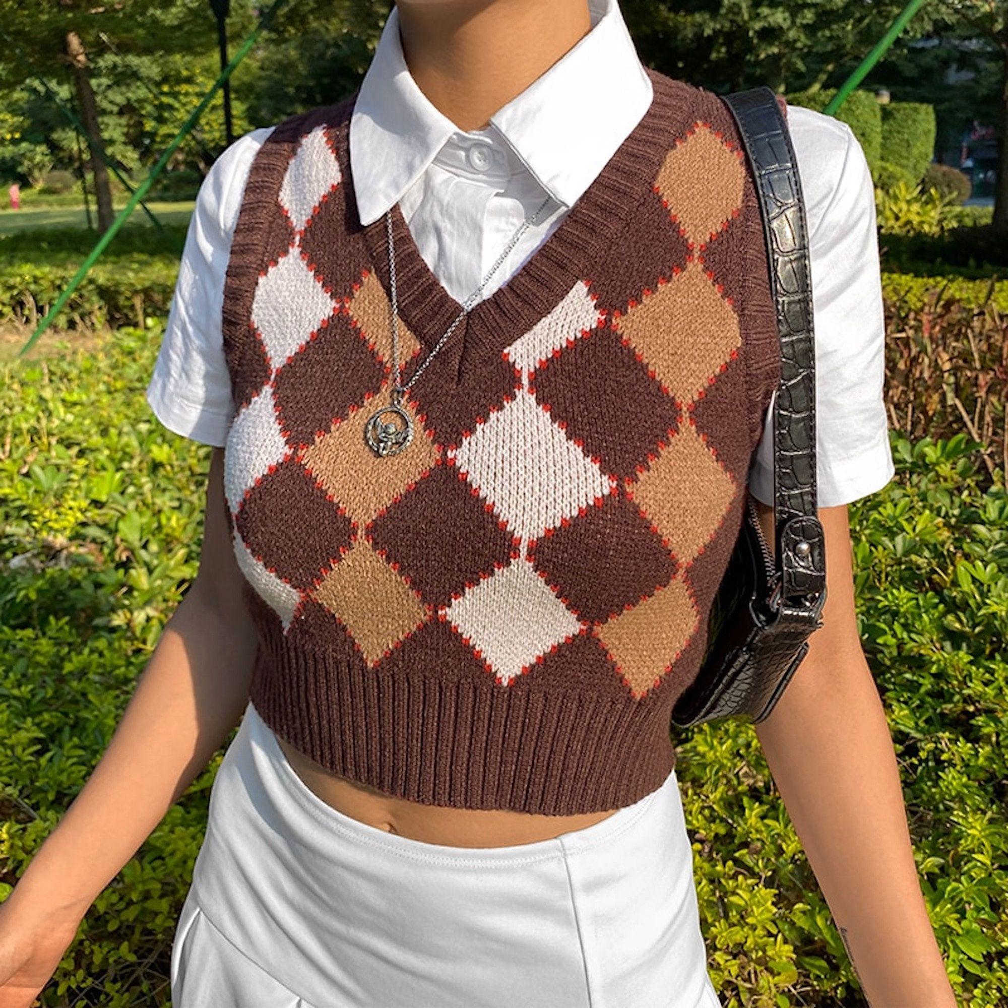 Y2K Vintage Brown Argyle Sweater Vest | Etsy