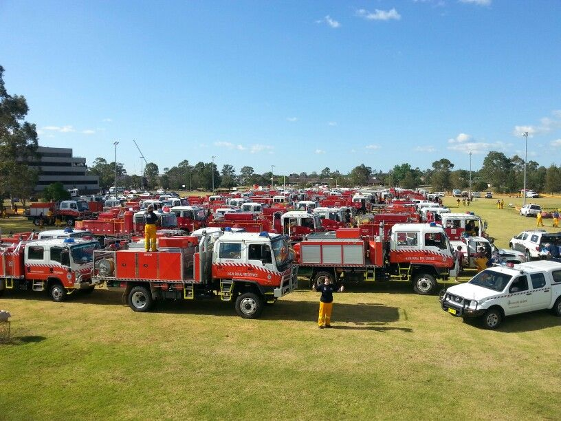 Fire trucks lined up at Penrith ready for action in the