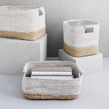 Two-Tone Woven Baskets – Natural/White Organizatio