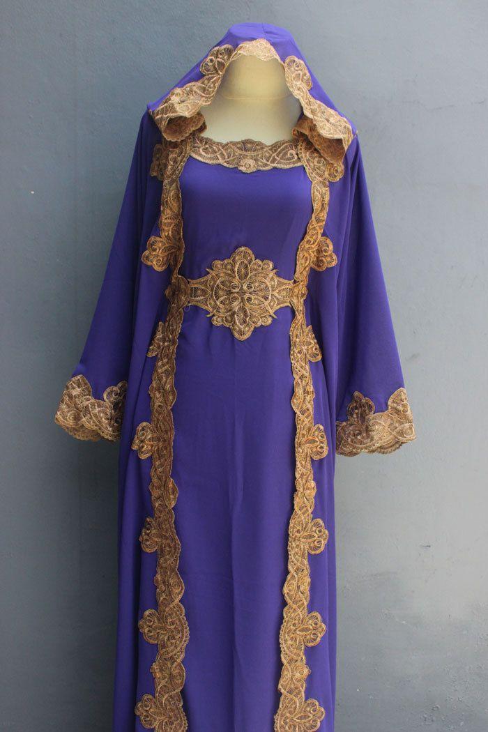 46f2622faa6 Hoodie Caftan Purple Dress Dubai Gold Embroidery Sheer by Yosika ...