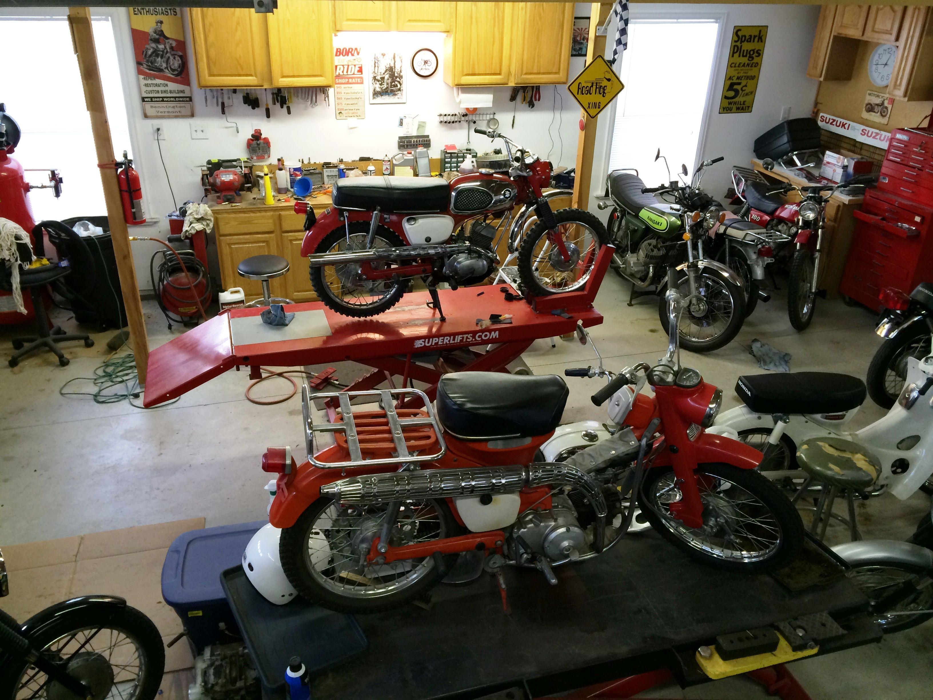 Motorcycle Dream Garage My Work Shop Area Featuring 2 Motorcycle Lifts Motorcycle Workshop Dream Garage Garages