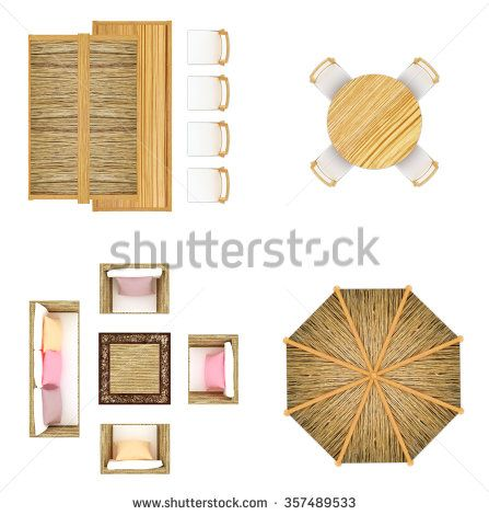 Garden Beach Furniture Top View Isolated On White Outdoor Sofa Chairs And Table Tiki Bar And Tiki Umbrella