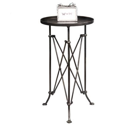 Round Metal Trestle Base Side Table