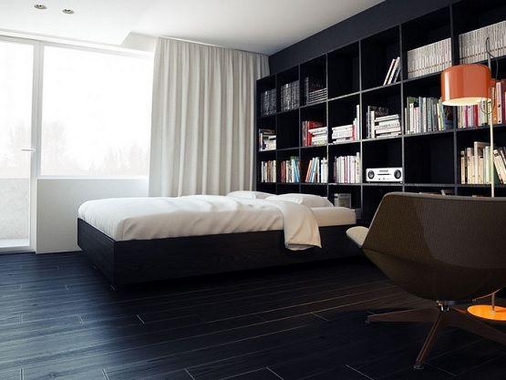 Bedroom With Black Laminate Flooring Modern Apartment Design