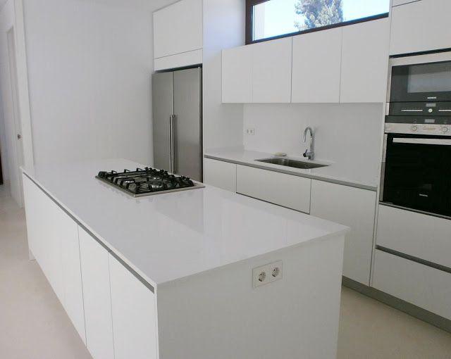 cocina blanca de isla3 Cocinas Pinterest