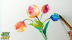how to paint a flower with watercolors - YouTube