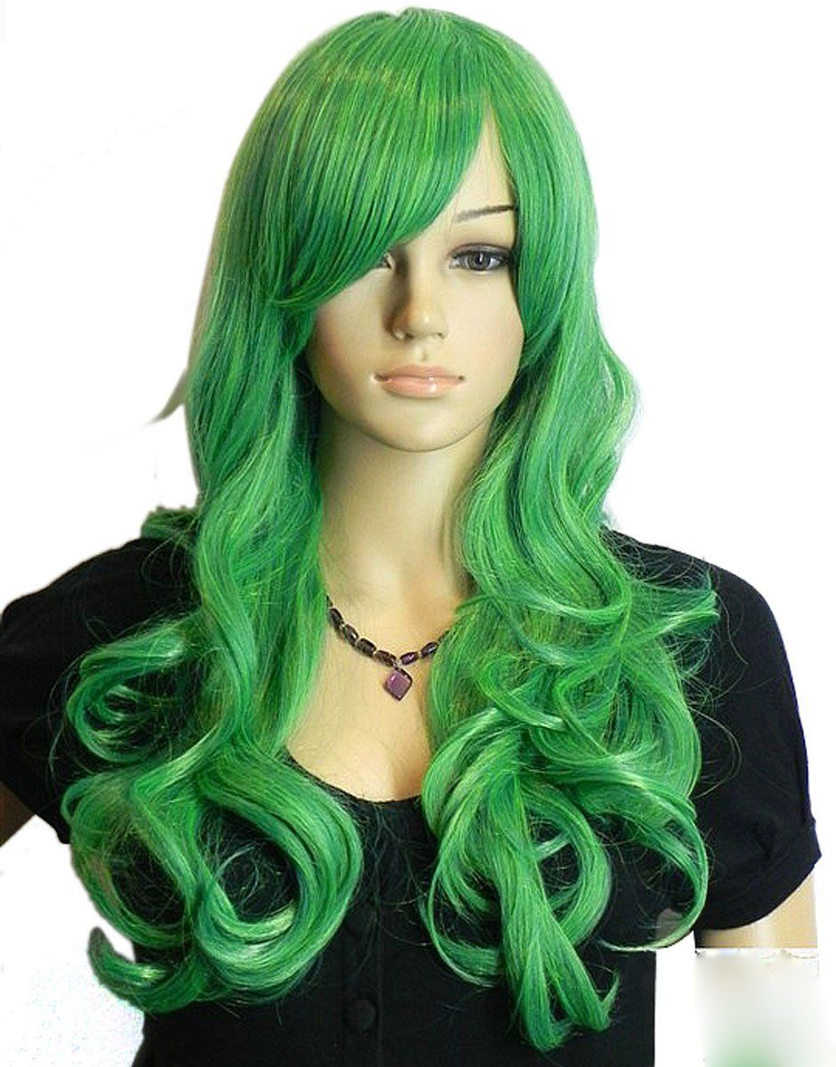Diy Western Women s Long Deep Curly Wavy Light Green Oblique Bangs  Kanekalon Full Hair Wig -- This is an Amazon Affiliate link. Continue to  the product at ... 63818b3faf