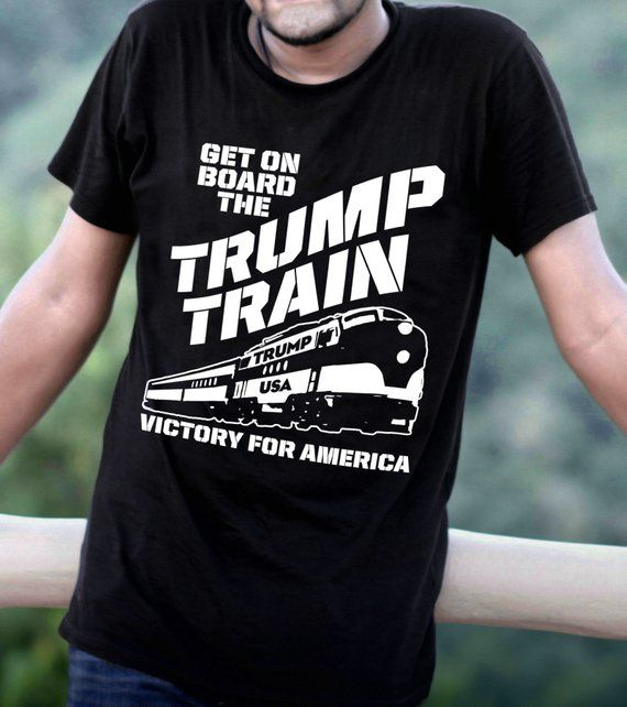7bc0e4390 Trump Shirt Pro-Trump Funny Trump Train T-Shirt Get on Board Victory for  America Gift Unisex Mens Te