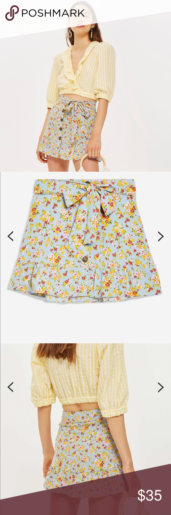 7ef2a4f80 LIKE NEW TOPSHOP PETITE FLORAL TIE BUTTON SKIRT Channel an ultra-feminine  look with our
