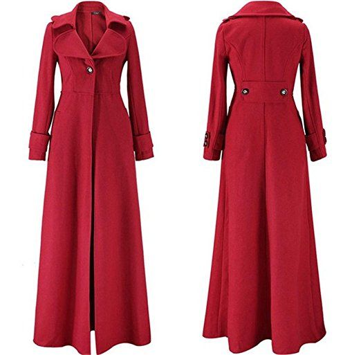 Women's Warm Winter Full Length Wool Slim Parka Jacket Long Trench ...