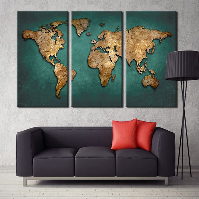 World Map Canvas Wall Painting Home Decor Vintage Large Dark Green Maps Art Pictures For Office Livin Wall Art Living Room Living Room Art Living Room Pictures #vintage #wall #decor #for #living #room
