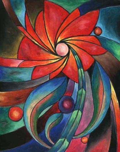 Stained Glass Flower Original Oil Pastel Drawing Oil