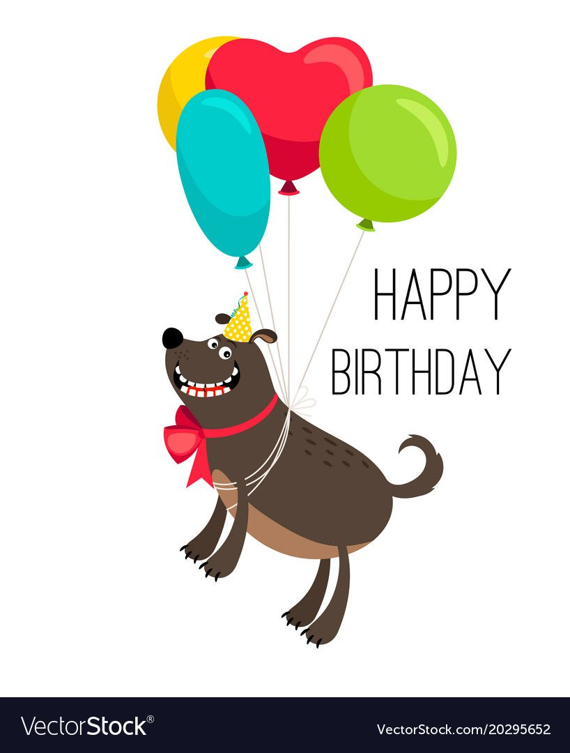 Happy Birthday Dog Card Cartoon Birthday Holiday Poster With Cute Happy Dog Pet On Balloons Vector Illustration Happy Birthday Dog Birthday Cartoon Dog Cards