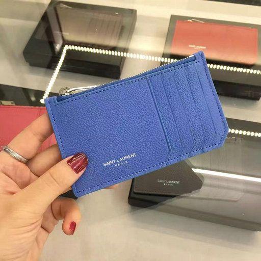 ca5ec5d950e 2016 Saint Laurent 5 Fragments Zip Pouch in Blue Leather $129.36 ...