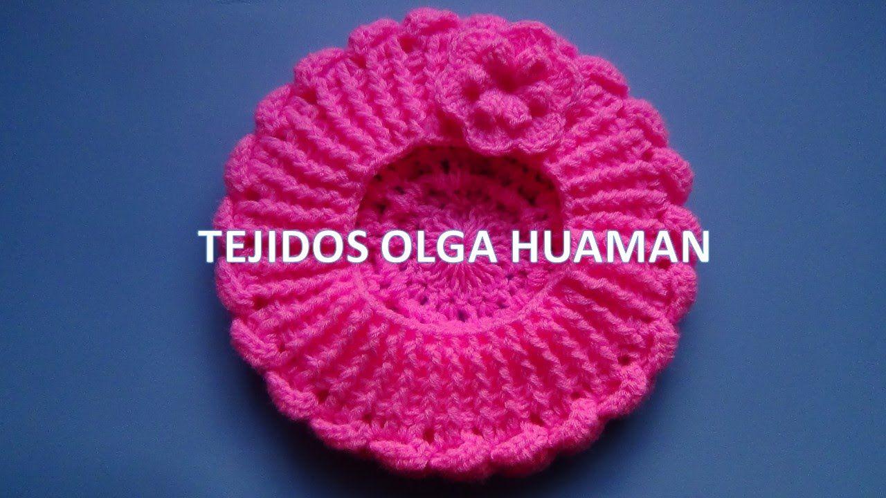 Boina tejido a crochet para bebe o niña video 2 | gorros | Pinterest ...