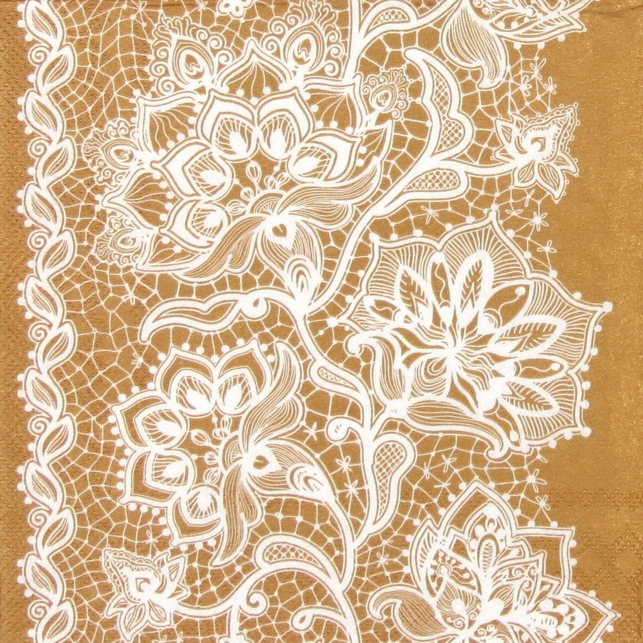 4x Single Table Party Paper Napkins for Decoupage Decopatch Gloria Lace Copper | eBay