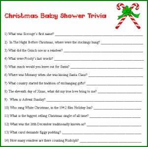 Christmas Baby Shower Trivia Game Other Games Jody S Shower