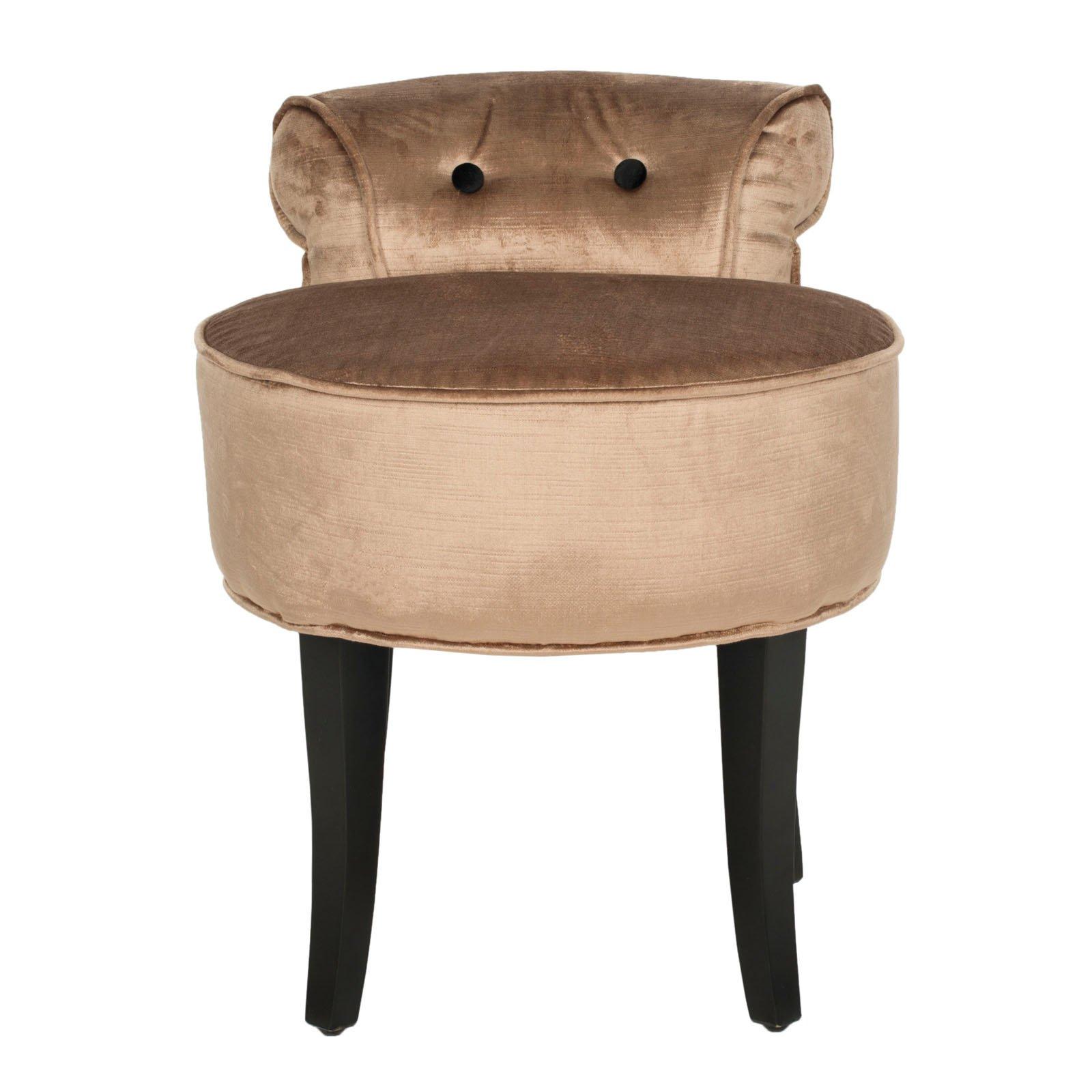 Amazing Safavieh Georgia Round Vanity Stool Mink Brown Products In Ibusinesslaw Wood Chair Design Ideas Ibusinesslaworg