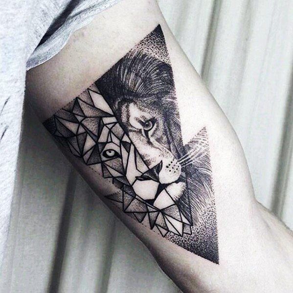 Top 57 Geometric Lion Tattoo Ideas 2020 Inspiration Guide Geometric Lion Tattoo Lion Tattoo Tattoo Designs Men