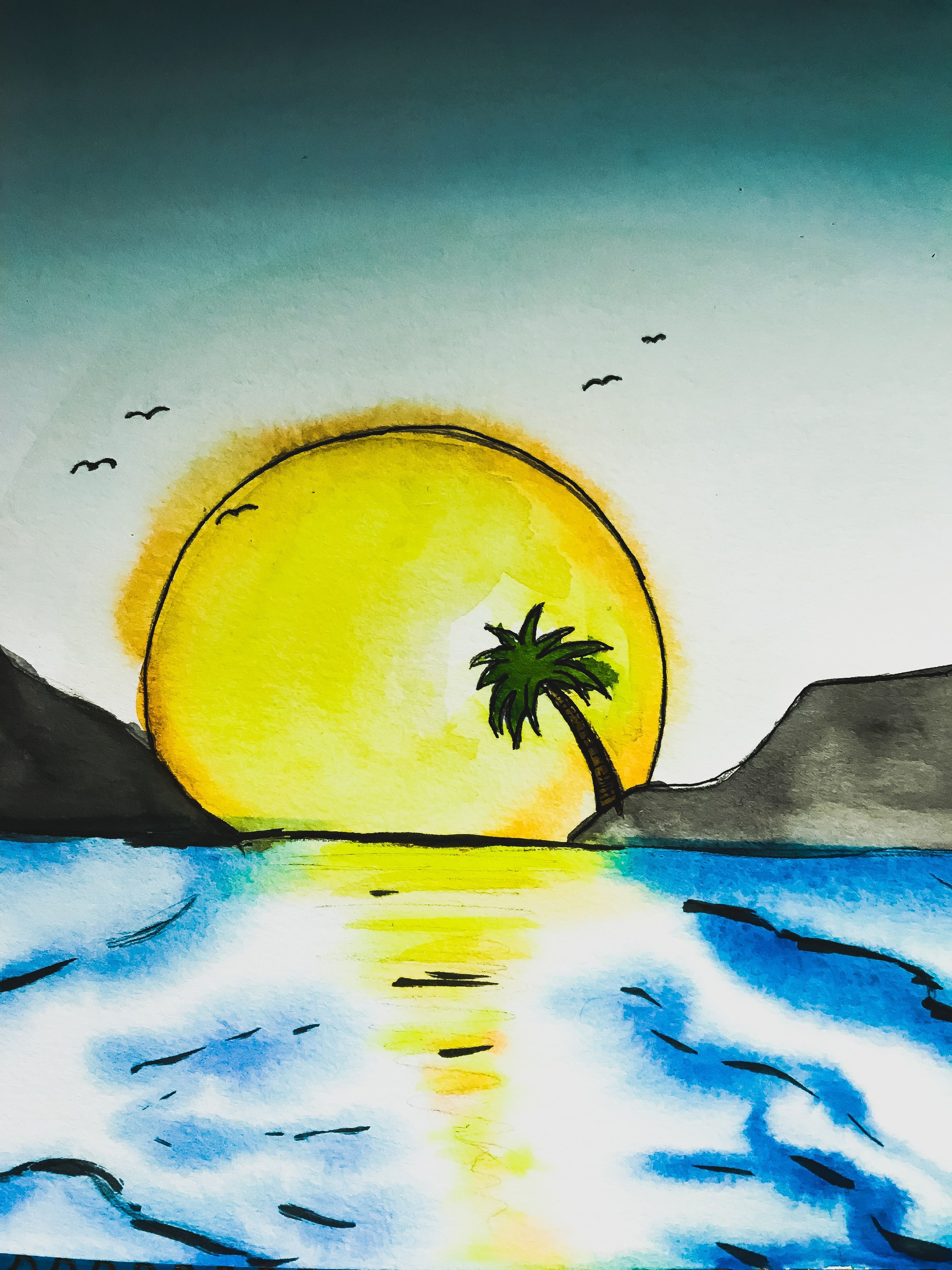 A Watercolor Painting Of A Sunset Watercolor Paintings