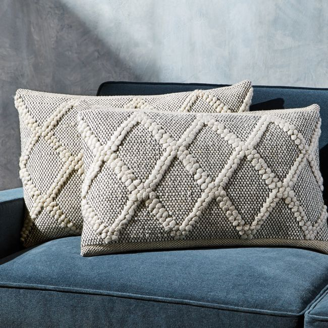 "Austine Grey and Cream Pillows 24""x16"", Set of 2 