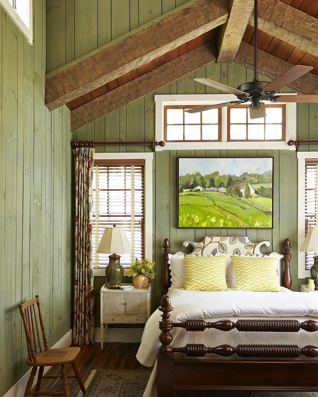 Master bedroom green  Pin by Mia on Deco  Pinterest  Bedrooms Green paint colors and