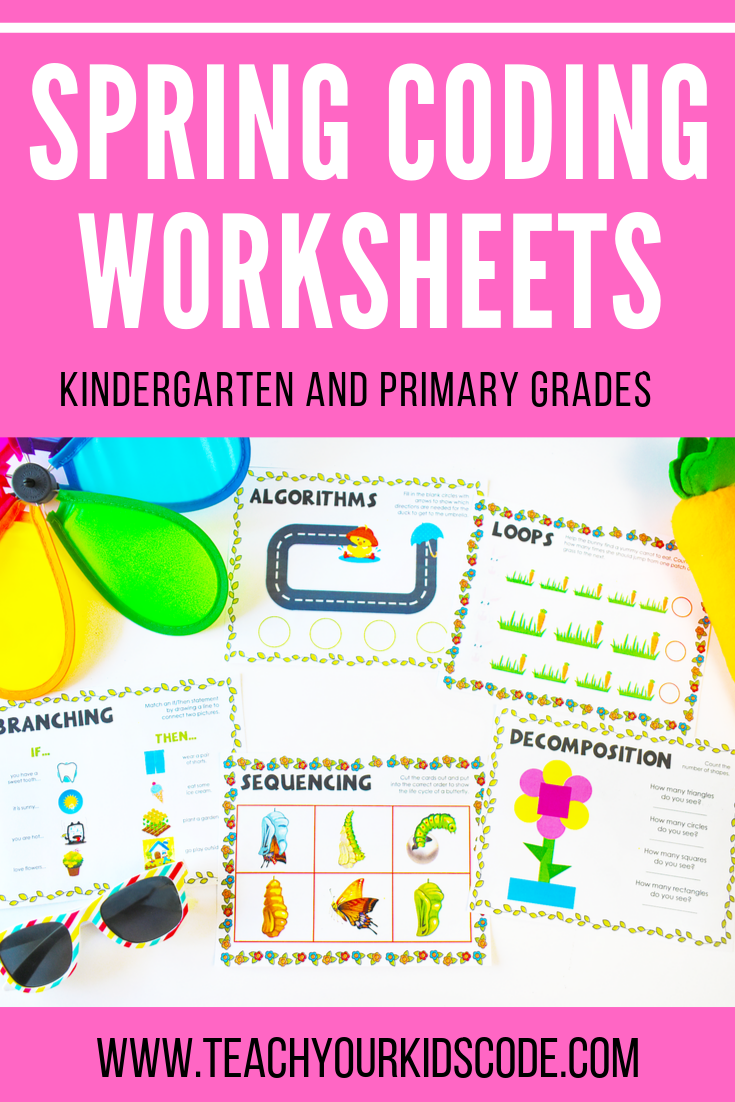 Our Spring Themed Kindergarten Coding Worksheets These Basic Concepts Of Coding Are Easy For Even Coding For Kids Kindergarten Worksheets Kindergarten Coding [ 1102 x 735 Pixel ]