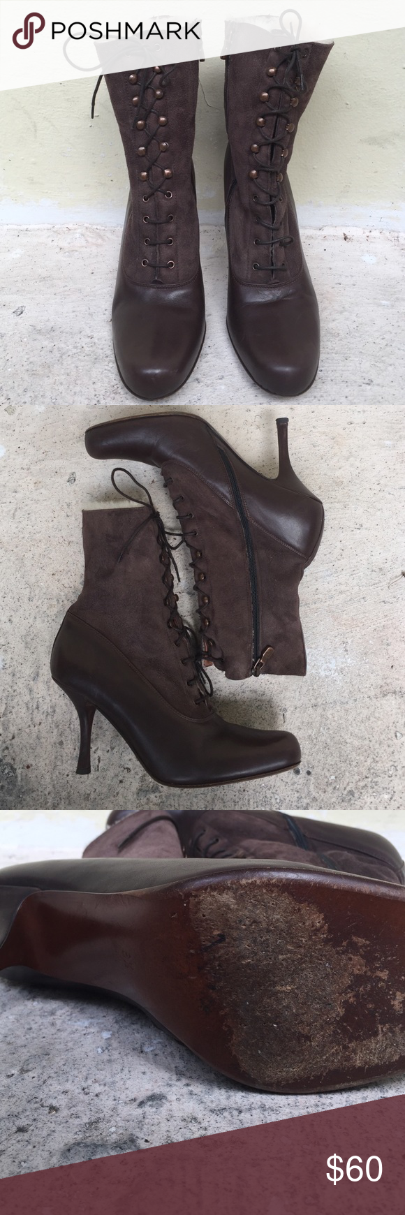 Couture Donald J Pilner Beautiful brown and suede like laceups. Side zipper, 3 inch heel, soles are good n so are heels. Fuzzy inside. Absolutely gorgeous boots Couture Donald J Pliner Shoes Lace Up Boots