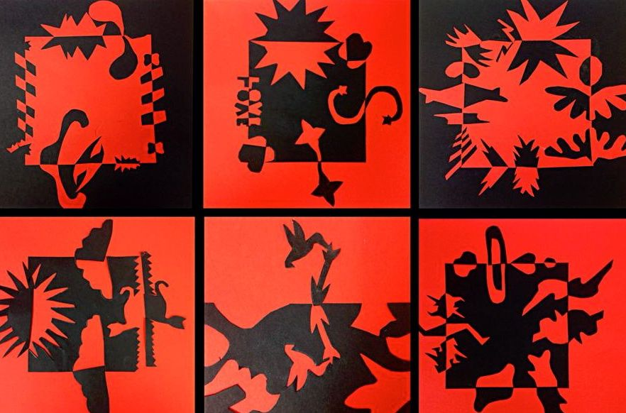 Positively Negative - er...positive!  notan 5th/6th grade  Cut Paper designs with negative space.