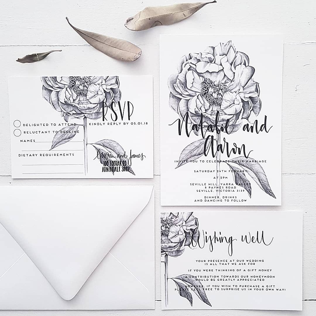 Peony illustration now featuring on wedding invites, as requested by many brides! Meticulously hand drawn Peony bloom drawn in pencil by Paper and Style Co.