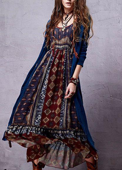 f11be9268f683a Bohemian Chiffon Dress - Bohemian Chiffon Dress Sleeve Style  Lantern Sleeve  Material  Cotton